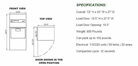 commercial compactor wcb 2000 specifications
